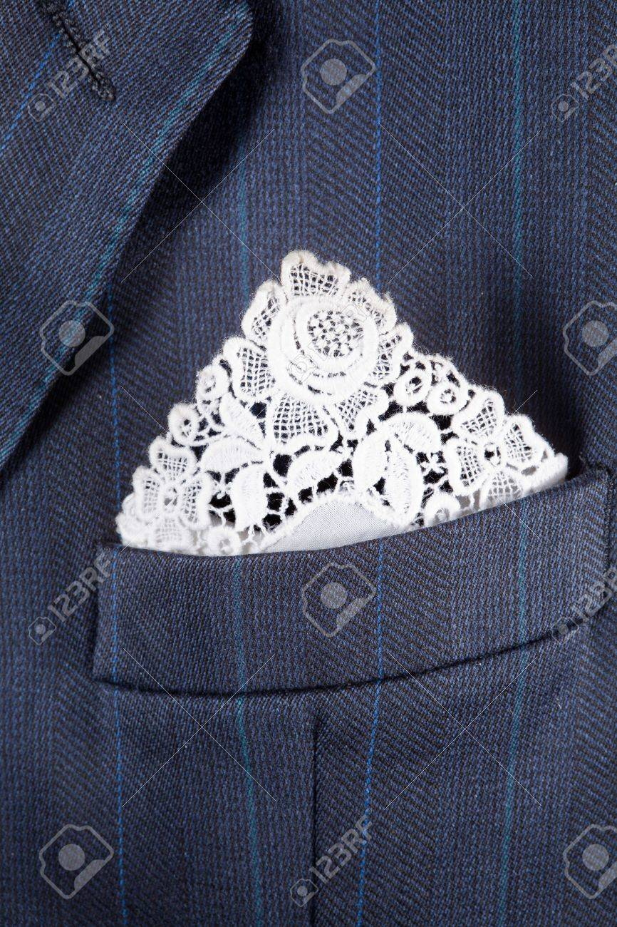 6ceec3e3f9e7c Formal suit breast pocket with a lace white handkerchief Stock Photo -  11072653