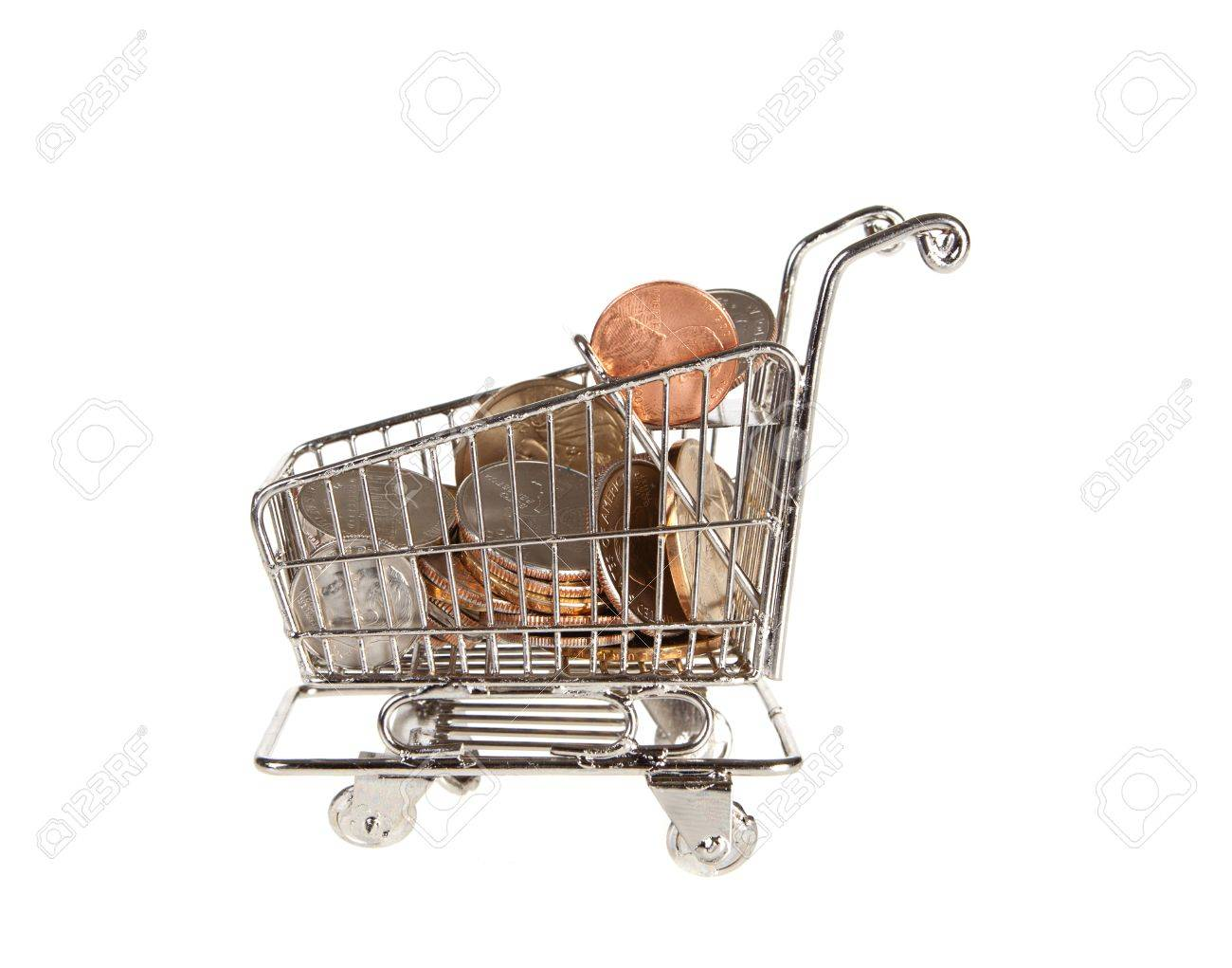 Small shopping trolley full of dollars for spending Stock Photo - 12609405