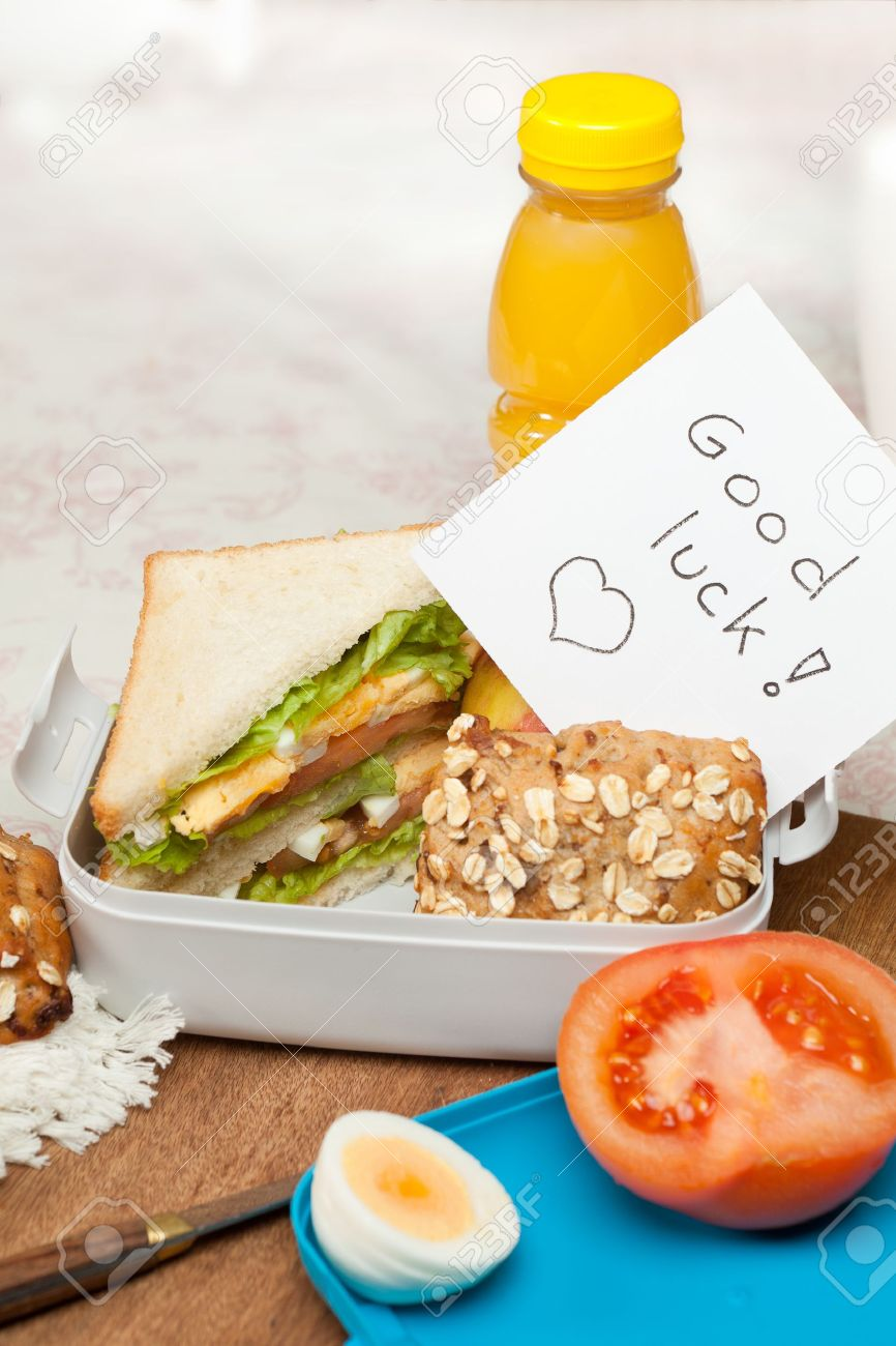 lunchbox good luck note for graduation or first day at work lunchbox good luck note for graduation or first day at work or school stock photo