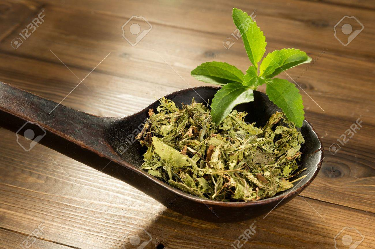 Wooden spoon filled with dried natural sweetener stevia leaves Stock Photo - 14951054