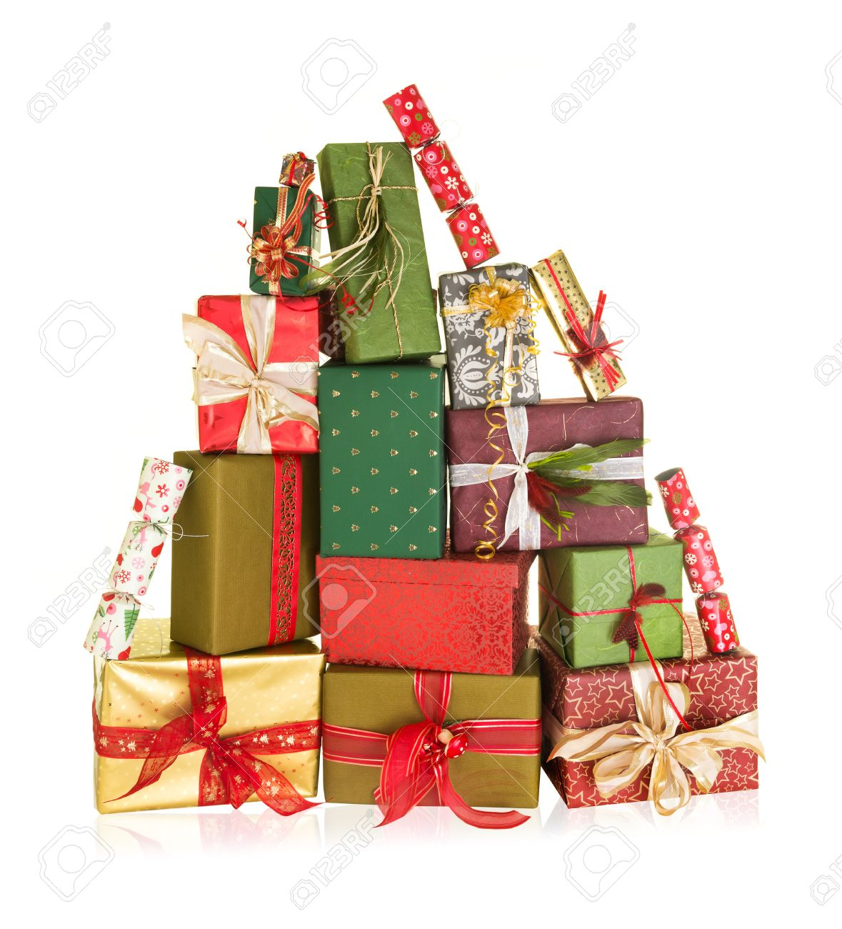 Big Stack Of Christmas Presents In The Shape Of A High Mountain ...