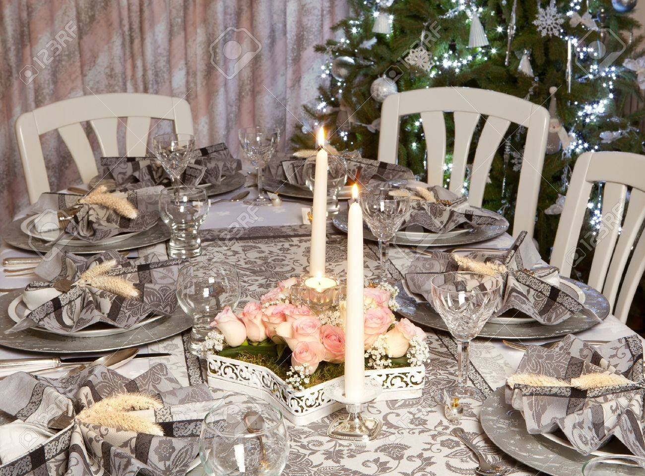 Fancy Christmas Dinner Table With Decorated Napkins Stock Photo Picture And Royalty Free Image Image 16391604