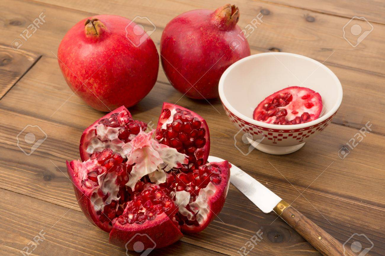 View on the arils of a fresh pomegranate Stock Photo - 17779424