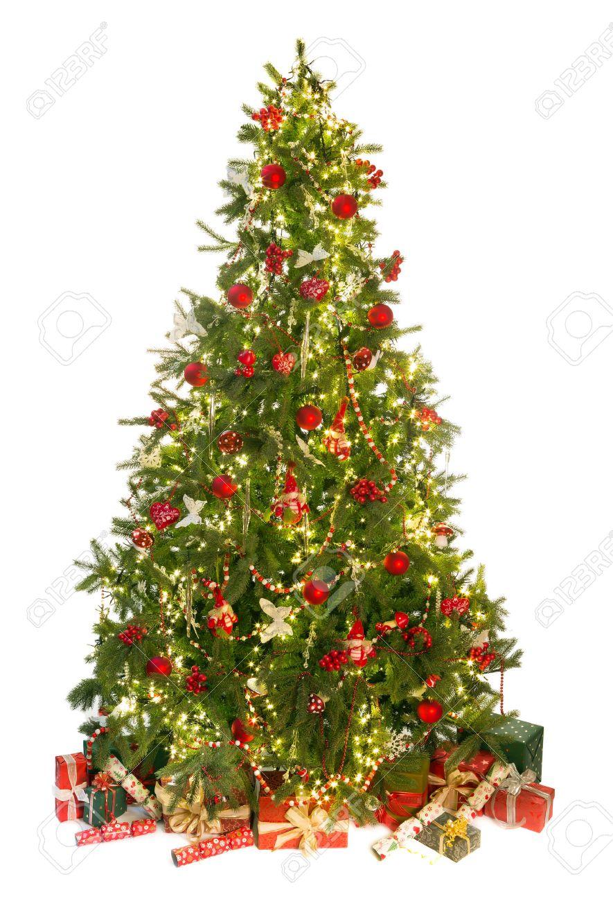 Mooie Kerstboom Geisoleerd Op Wit Met Cadeaus En Versieringen