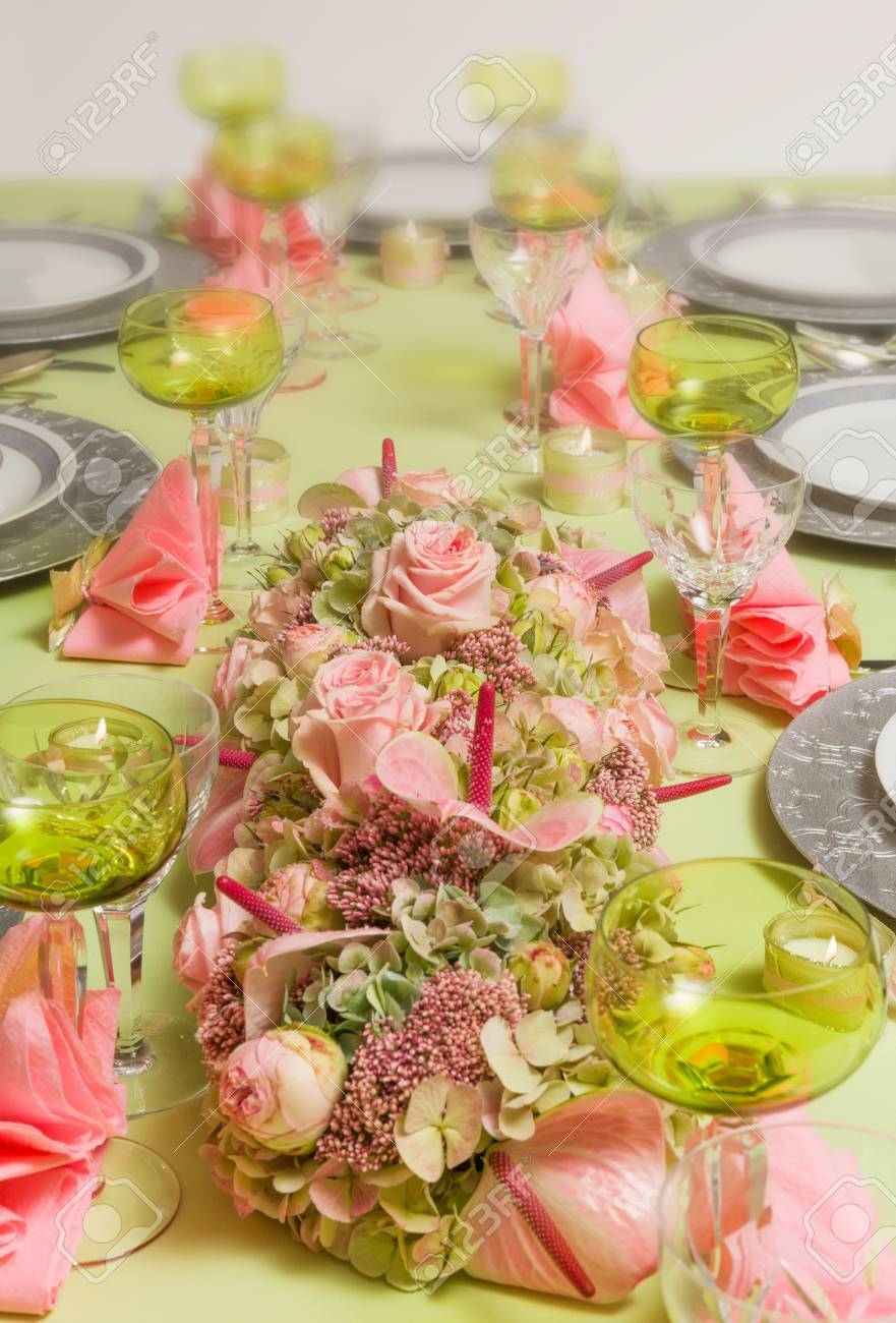 Beautiful Twotone Flower Arrangement In Soft Pink And Green On