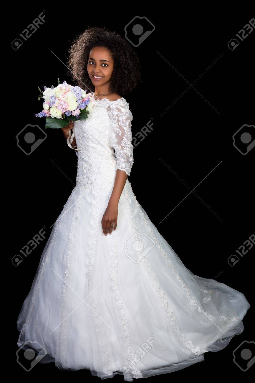 Beautiful African Ethiopian Woman In A White Wedding Gown Stock ...