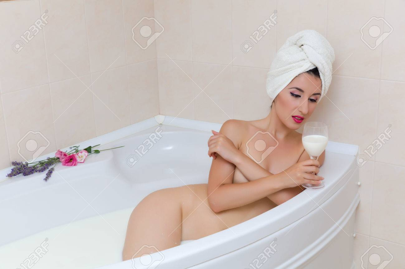 Bathtub naked woman young apologise, but, opinion