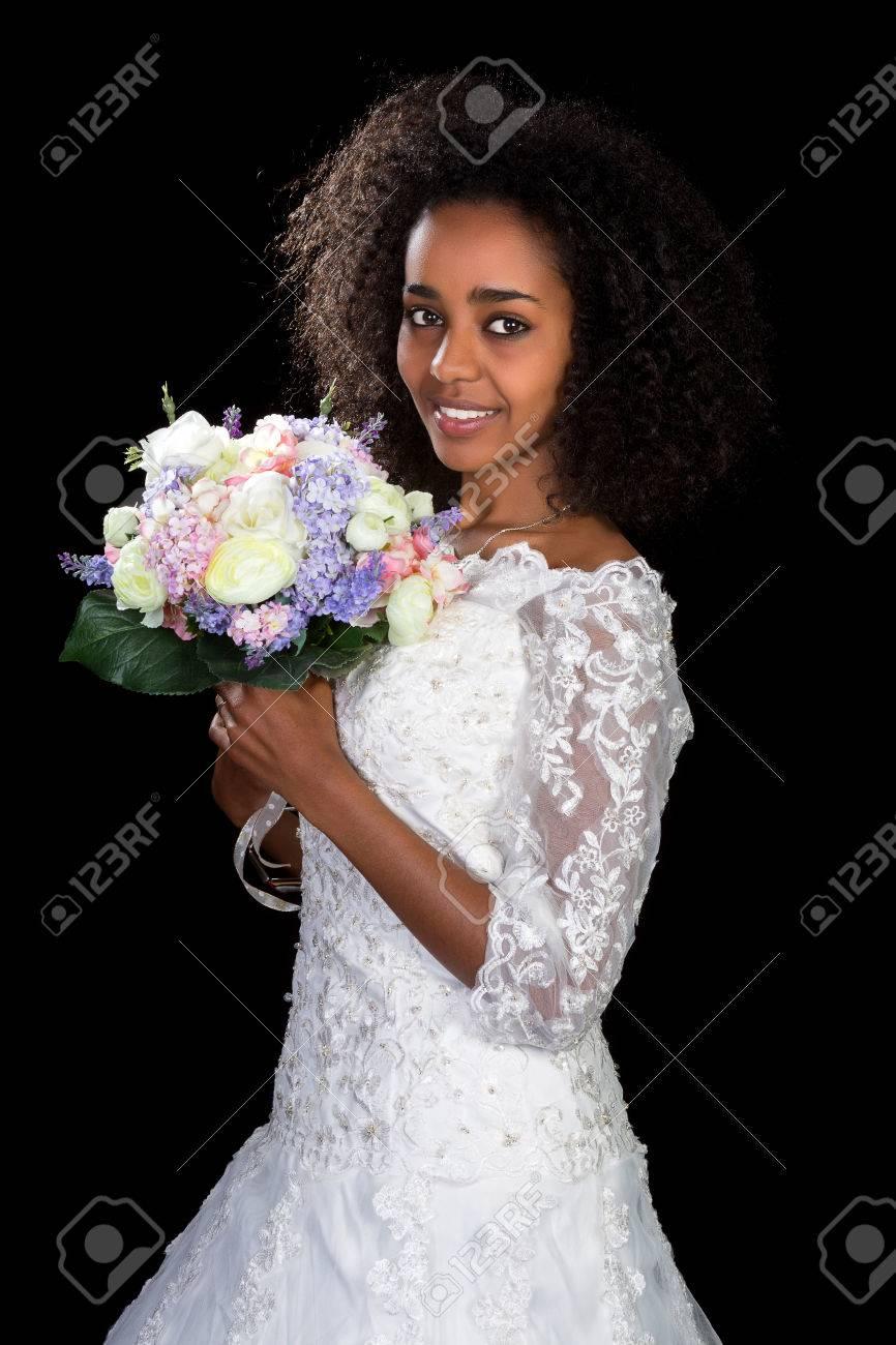 Pretty Ethiopian Woman Wearing A White Lace Wedding Gown Stock Photo ...