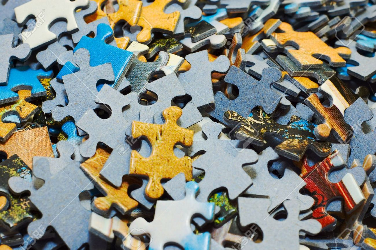 Task Too Difficult Pile Of Jigsaw Puzzle Pieces Stock Photo