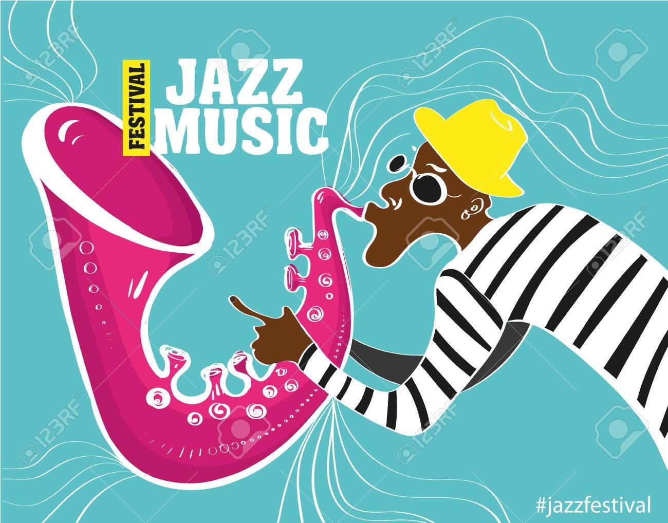 音楽ジャズ ポスターサックス奏者ジャズ ポスターのベクトル イラスト