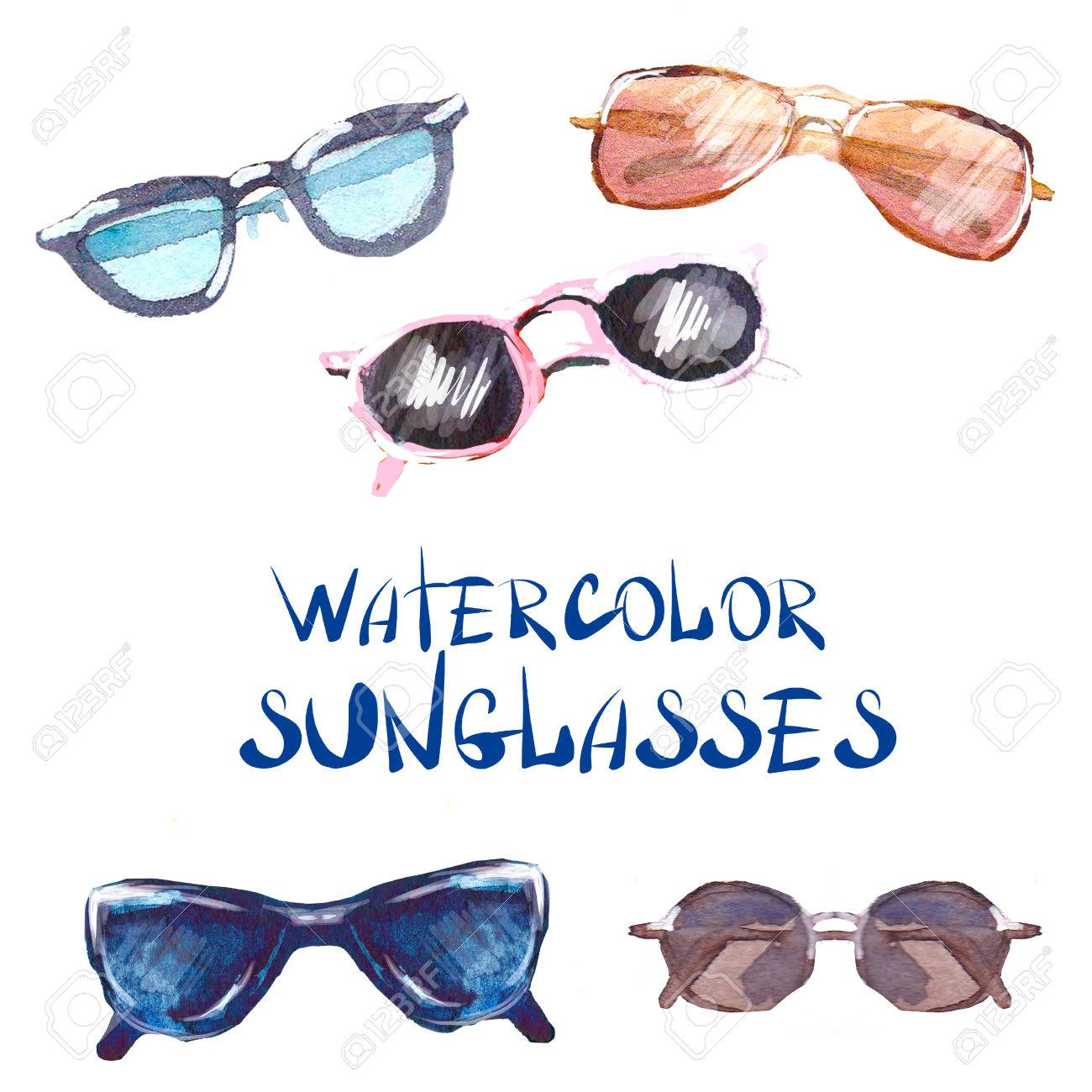 799a6ab9660 Vector - Watercolor sunglasses and glasses isolated on white background