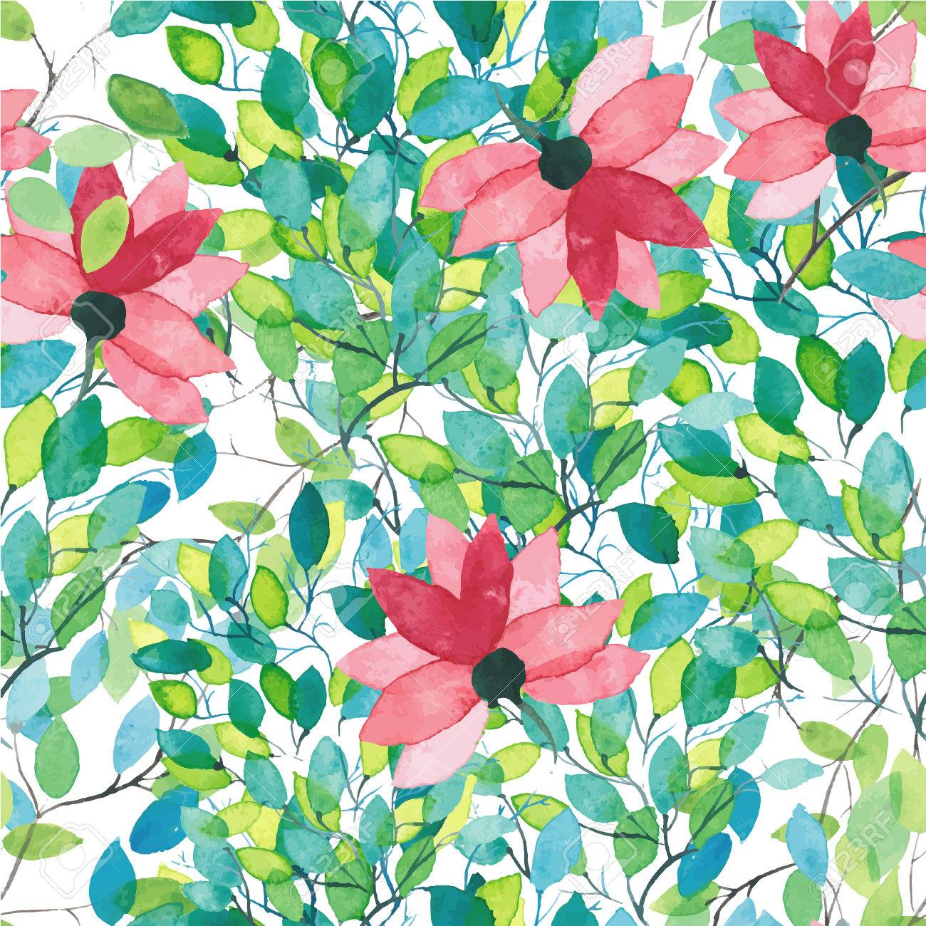 Watercolor Floral Wallpaper Seamless Pattern Or Background Royalty