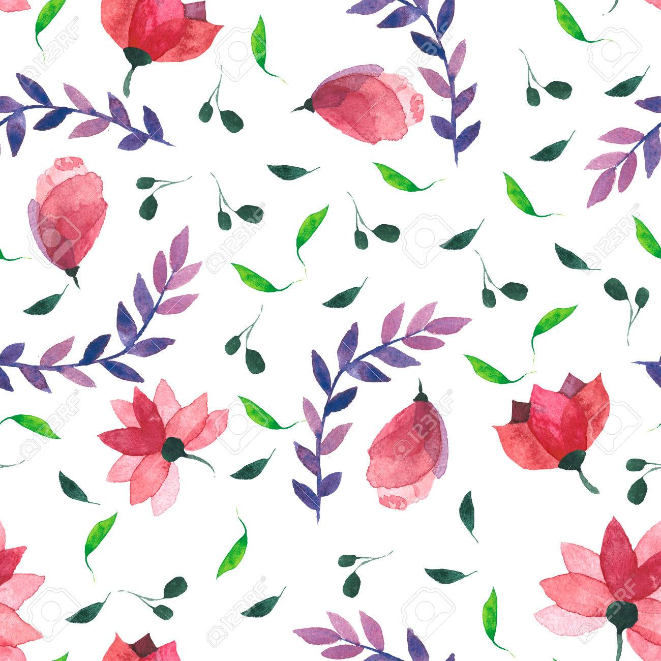 Watercolor Floral Wallpaper Seamless Pattern Or Background Stock