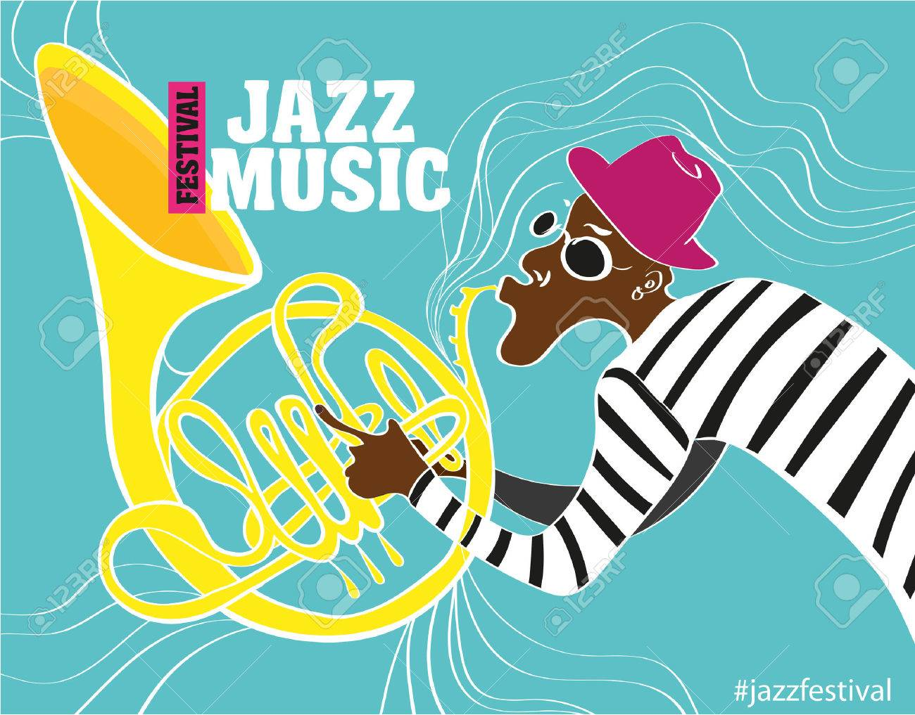 Poster design notes - Jazz Music Festival Poster Background Template Keyboard With Music Notes Flyer Vector Design