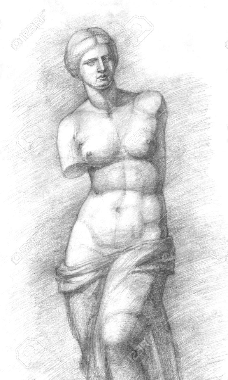 Venus Dibujo Estudio Gráfico De Lápiz De La Escultura De Venus De Milo Desnuda