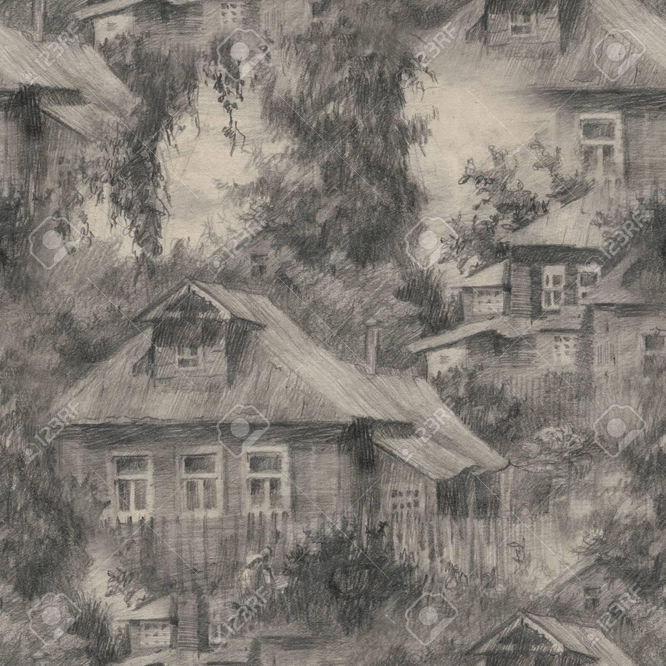 Casette Russe Di Campagna modello senza soluzione di continuità con le case in villaggio, paesaggio  di campagna, disegno disegnato a mano sketch.