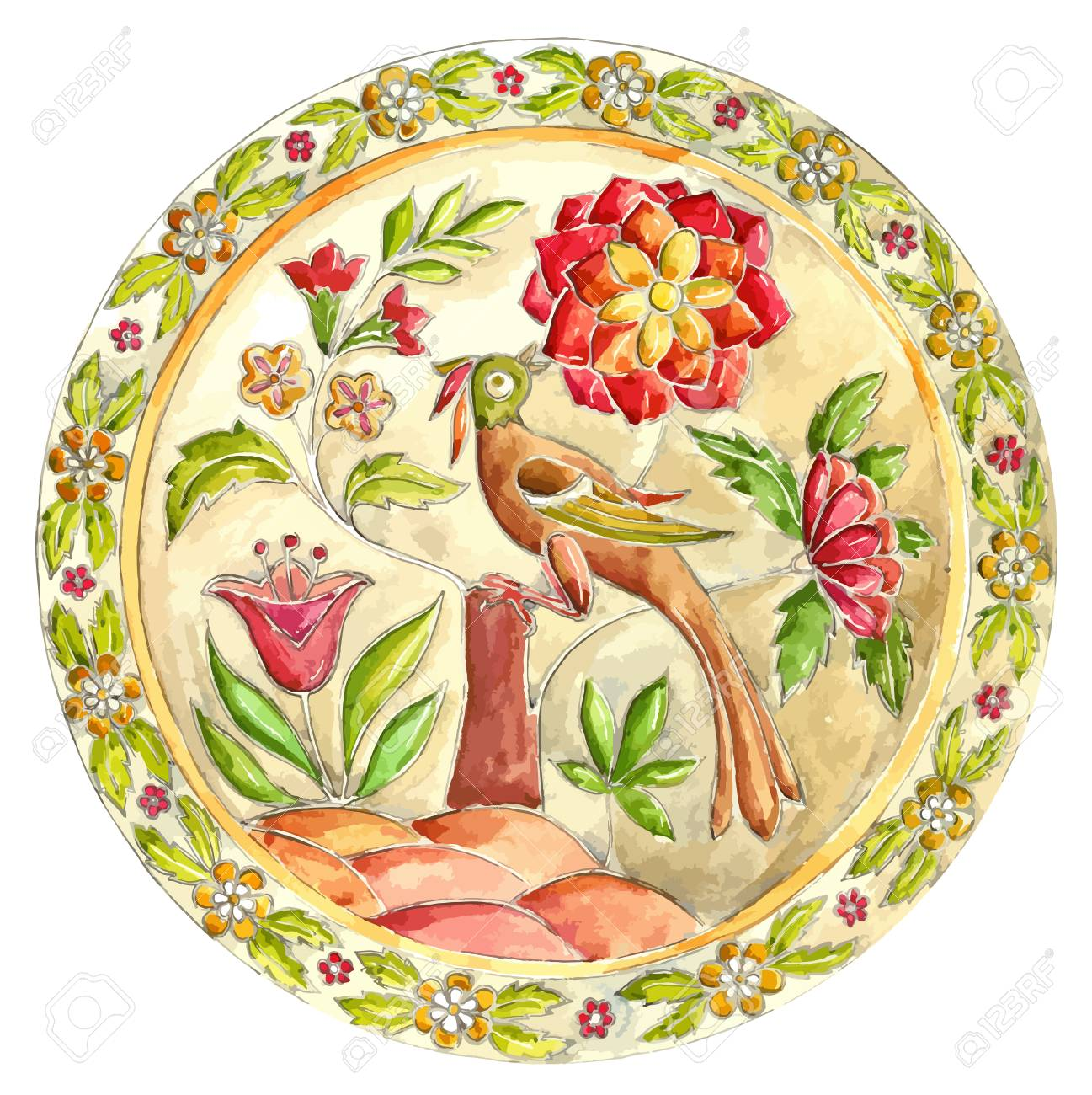 Fabulous Bird. Decorative Plate In Gzhel Style. Russian Painted ...