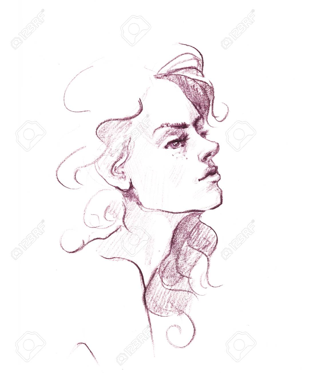 Hand drawn pencil sketch with face of a girl female portrait stock photo