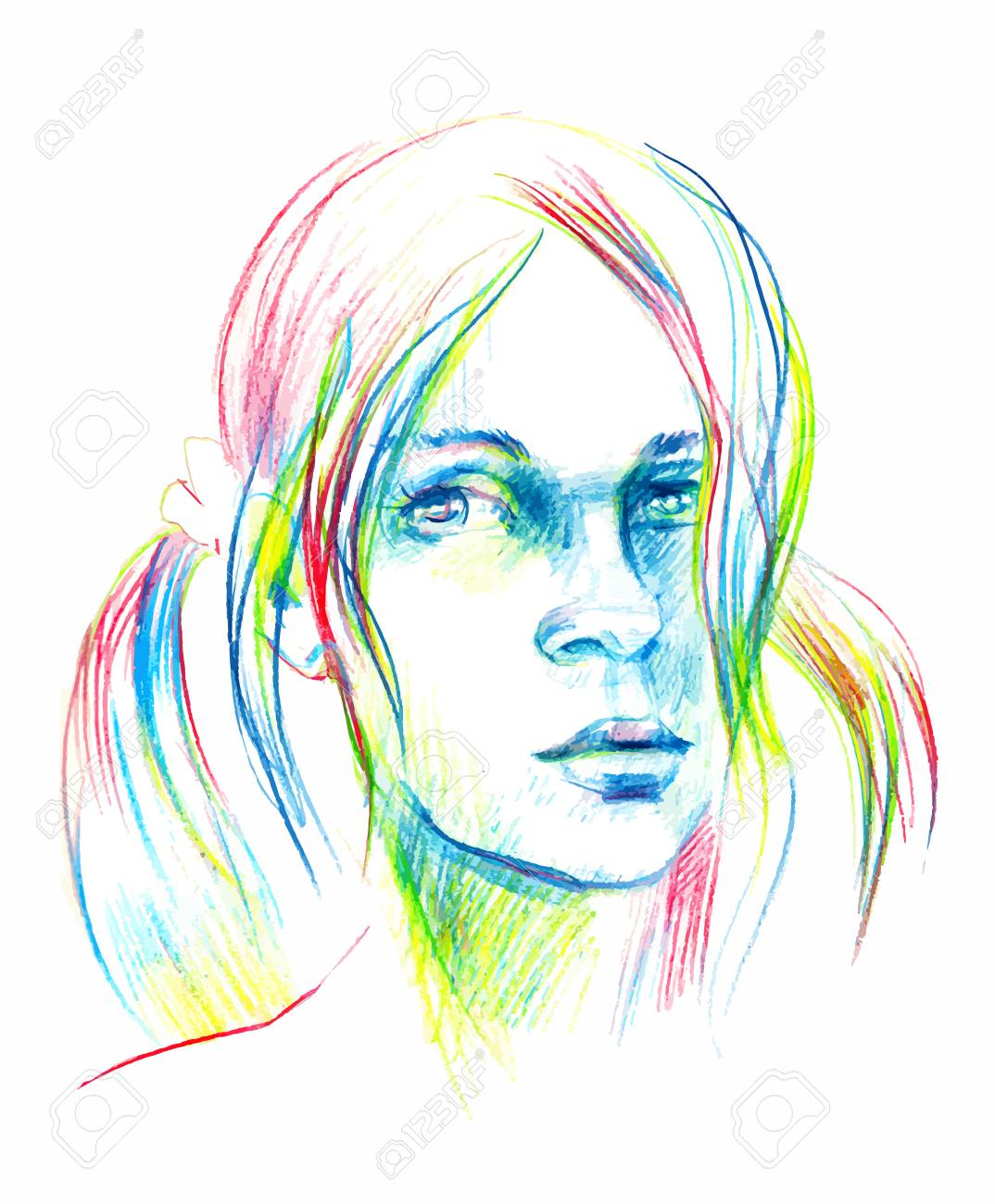 Stock photo vector hand drawn pencil sketch with face of a girl female portrait