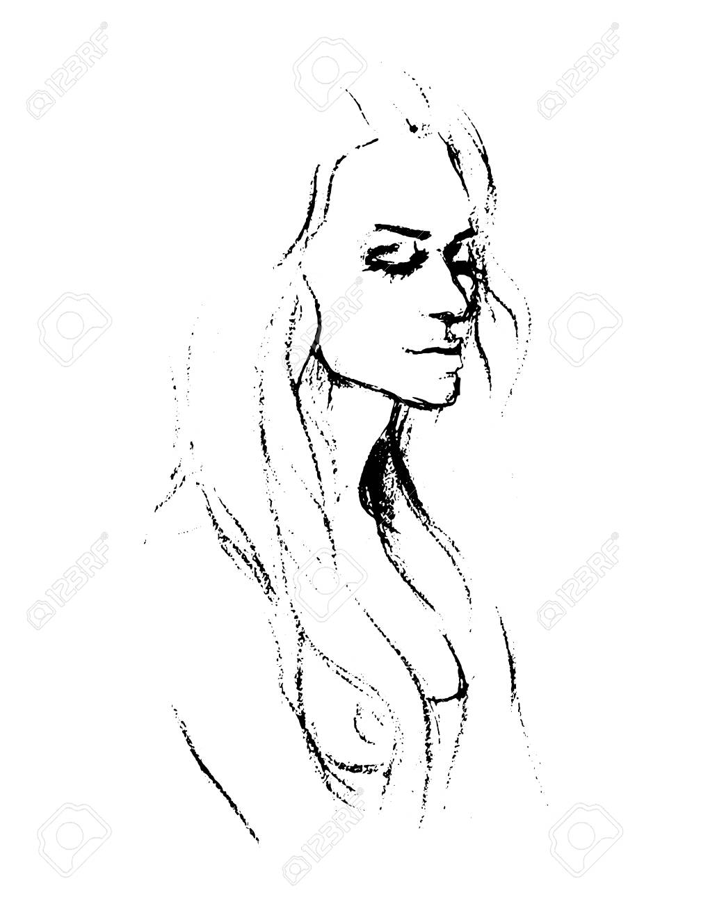 A vector portrait of a naked girl drawing with a pencil stock vector