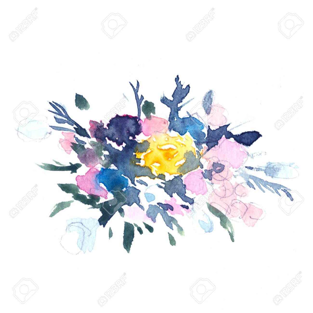 Abstract Watercolor Floral Illustration In A La Prima Style Roses