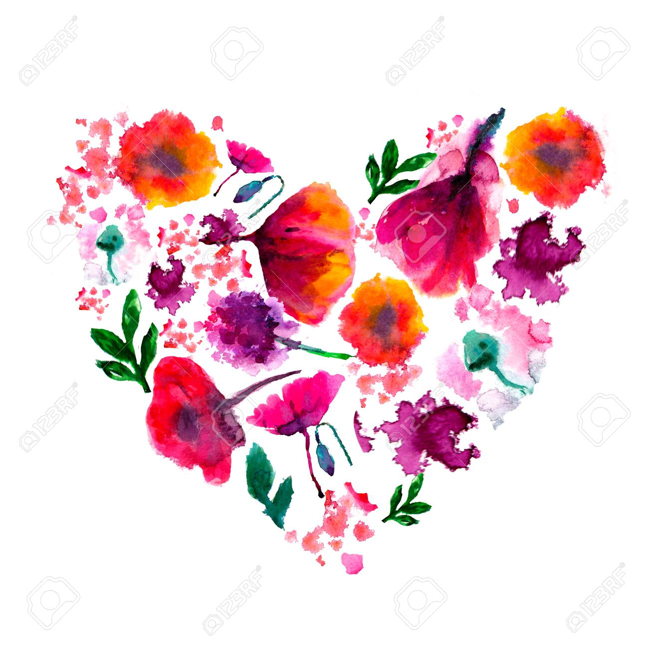 Painted watercolor flower heart painted heart watercolor heart painted watercolor flower heart painted heart watercolor heart made of flowers perfect valentines mightylinksfo