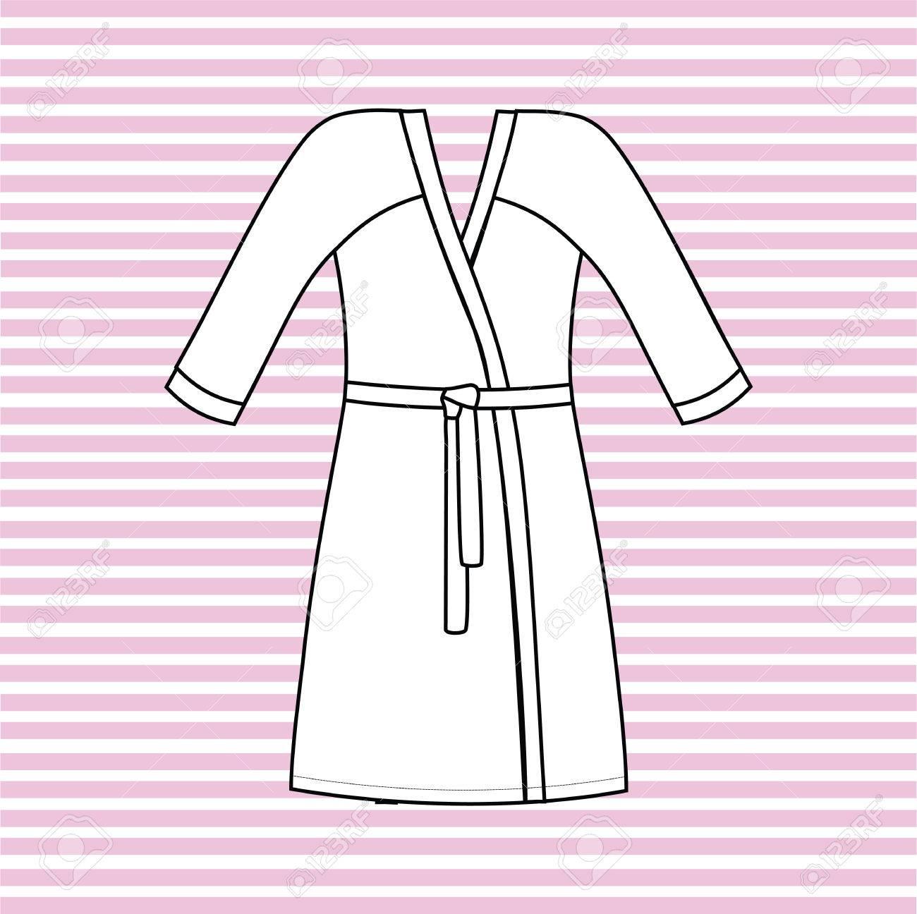 53b5105023 Gown Female Home. Bathrobe Drawn Vector. Royalty Free Cliparts ...