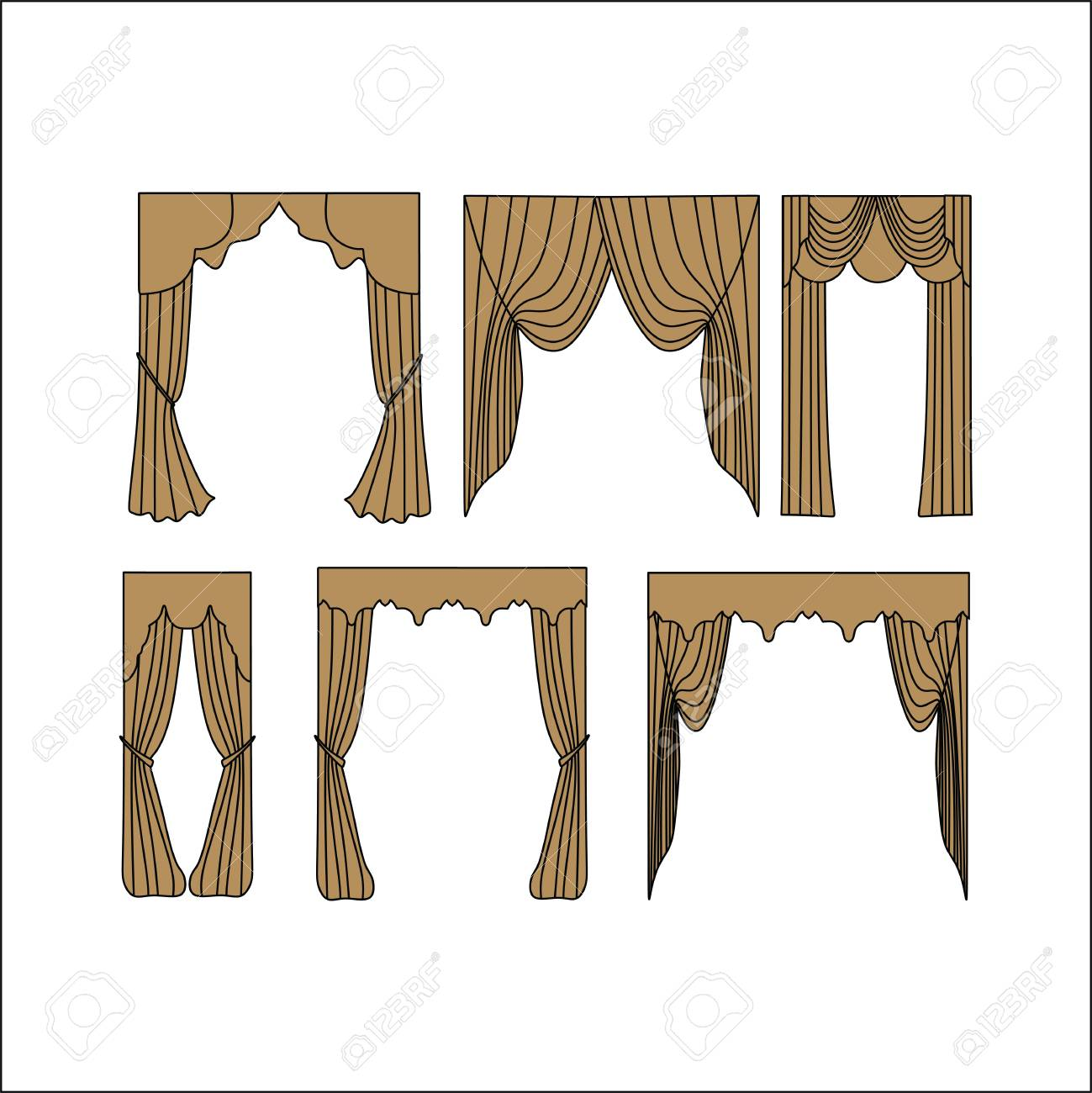 Window Curtains Design Sketch Royalty Free Cliparts Vectors And Stock Illustration Image 65423133