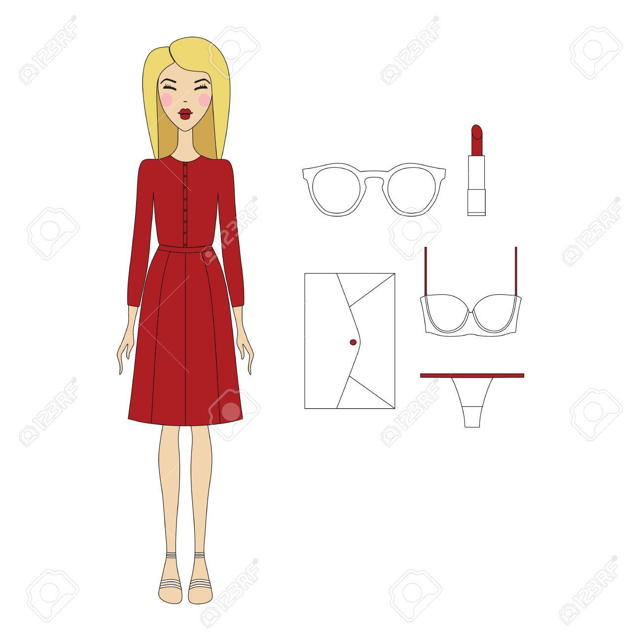 23efb7e22 Foto de archivo - Mujer joven en ropa de moda. Niña en el vestido. ropa  casual. falda. Zapatos. una bolsa. blusa. productos cosméticos. Gafas de sol .