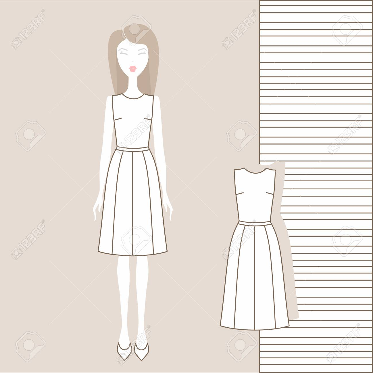 ad6cec5c64919f Girl in fashionable clothes, skirt, blouse, jumper, tank top. Stock Vector