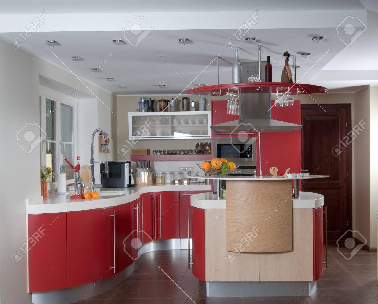 Shot of beautiful red modern kitchen, interior Stock Photo - 5349813