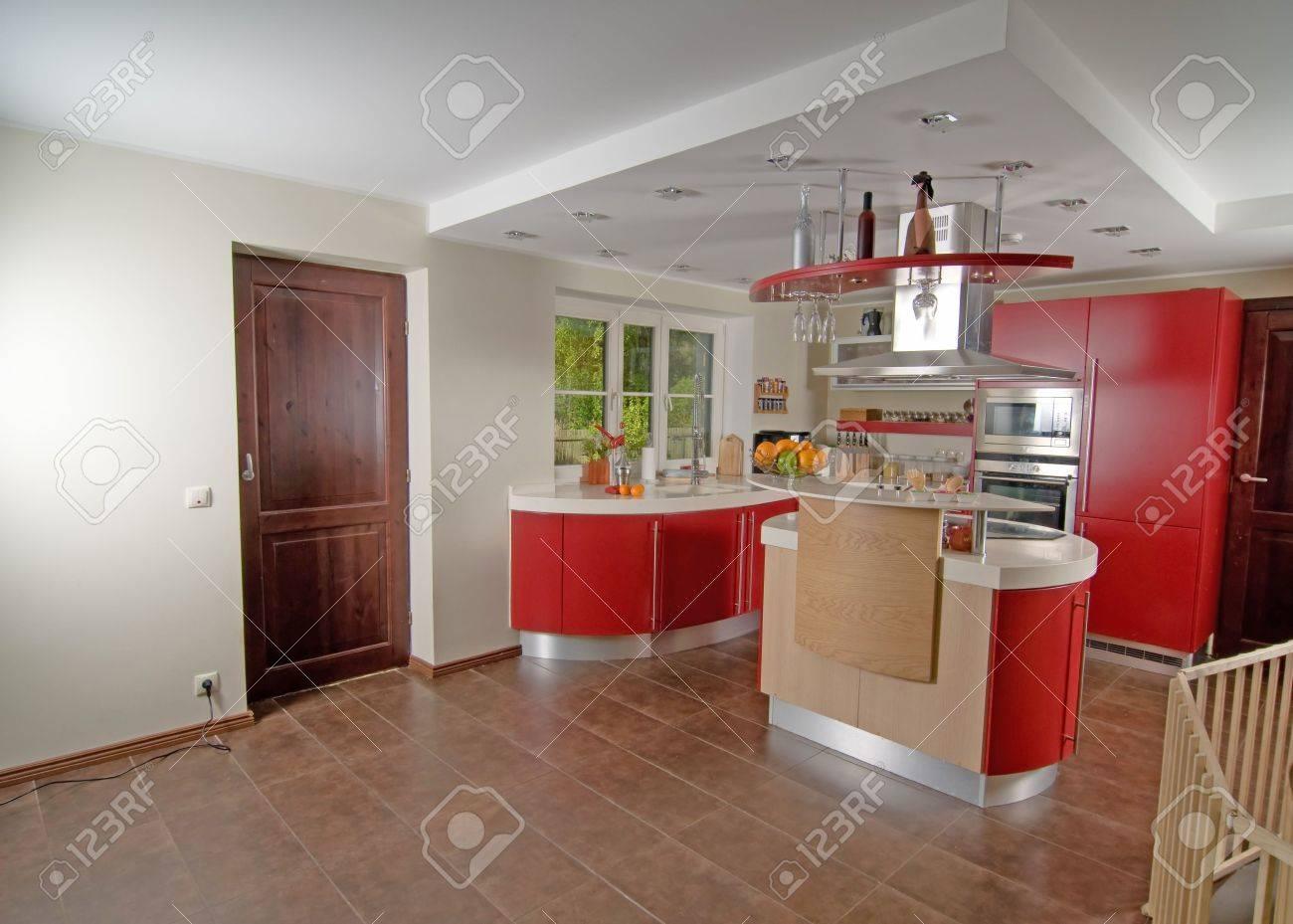 Modern Kitchen Interiors Shot Of Beautiful Red Modern Kitchen Interior Stock Photo