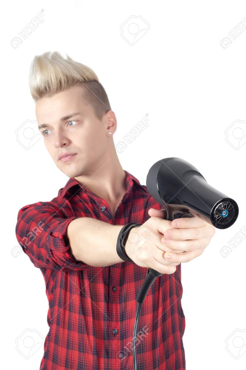 Portrait of handsome man with hairdryer in studio isolated on white Stock Photo - 22607788