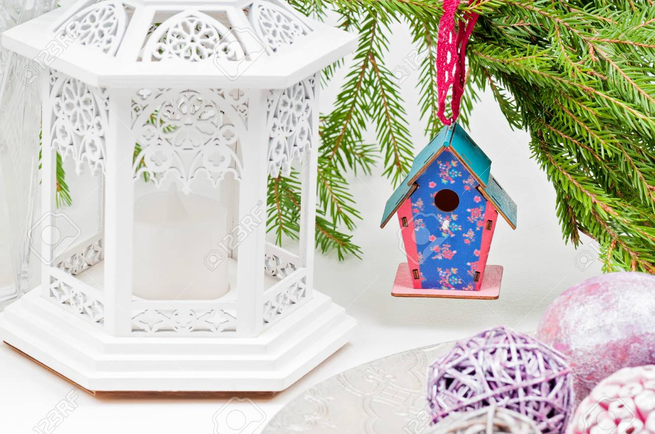 Christmas Birdhouses.Christmas Toy Birdhouses And Other Decorations