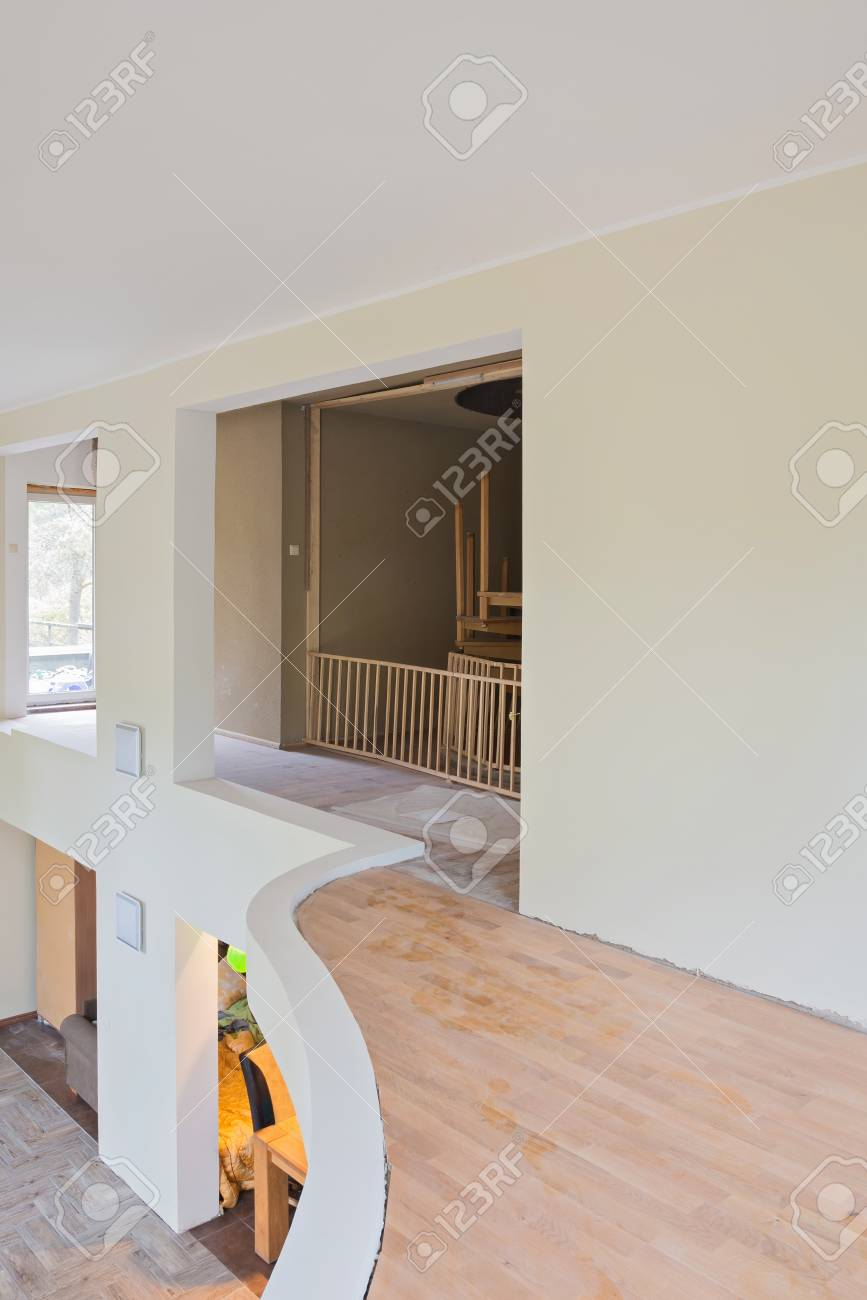 Balcony of living room interior renovation with unfinished house..
