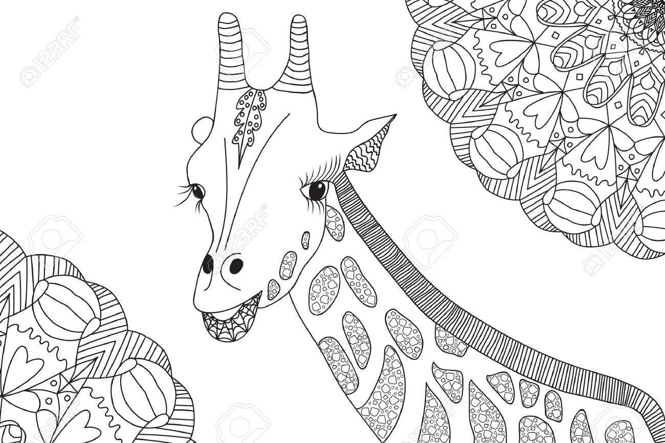 Coloriage Mandala Anti Stress Animaux.Girafe Et Mandalas Dessines A La Main Coloriage Anti Stress Adulte