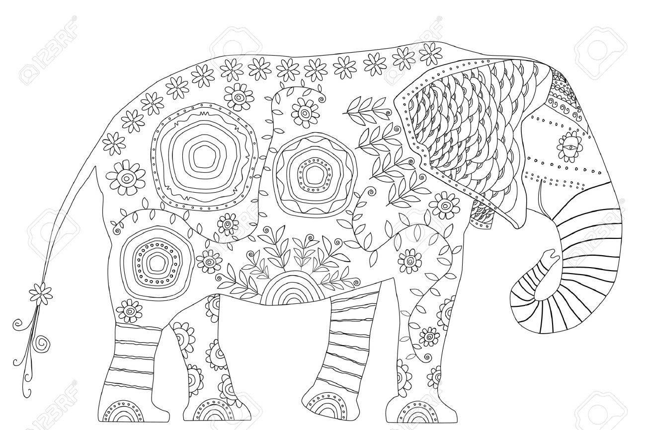 Dekorativer Elefant Erwachsene Antistress Malvorlagen Schwarz