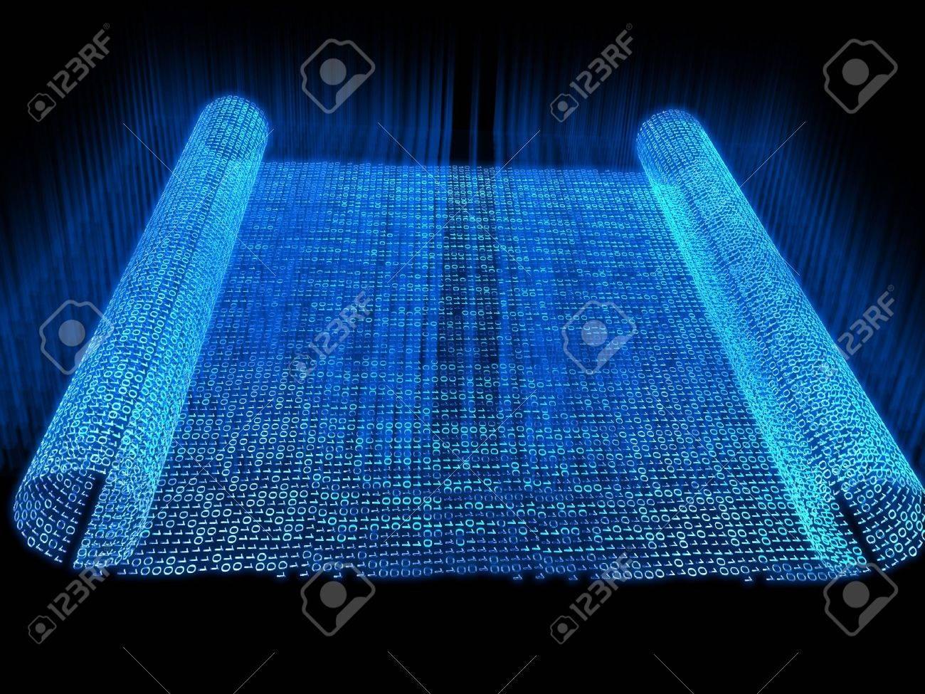Dark Blue Futuristic Scroll on black background Stock Photo - 3875203
