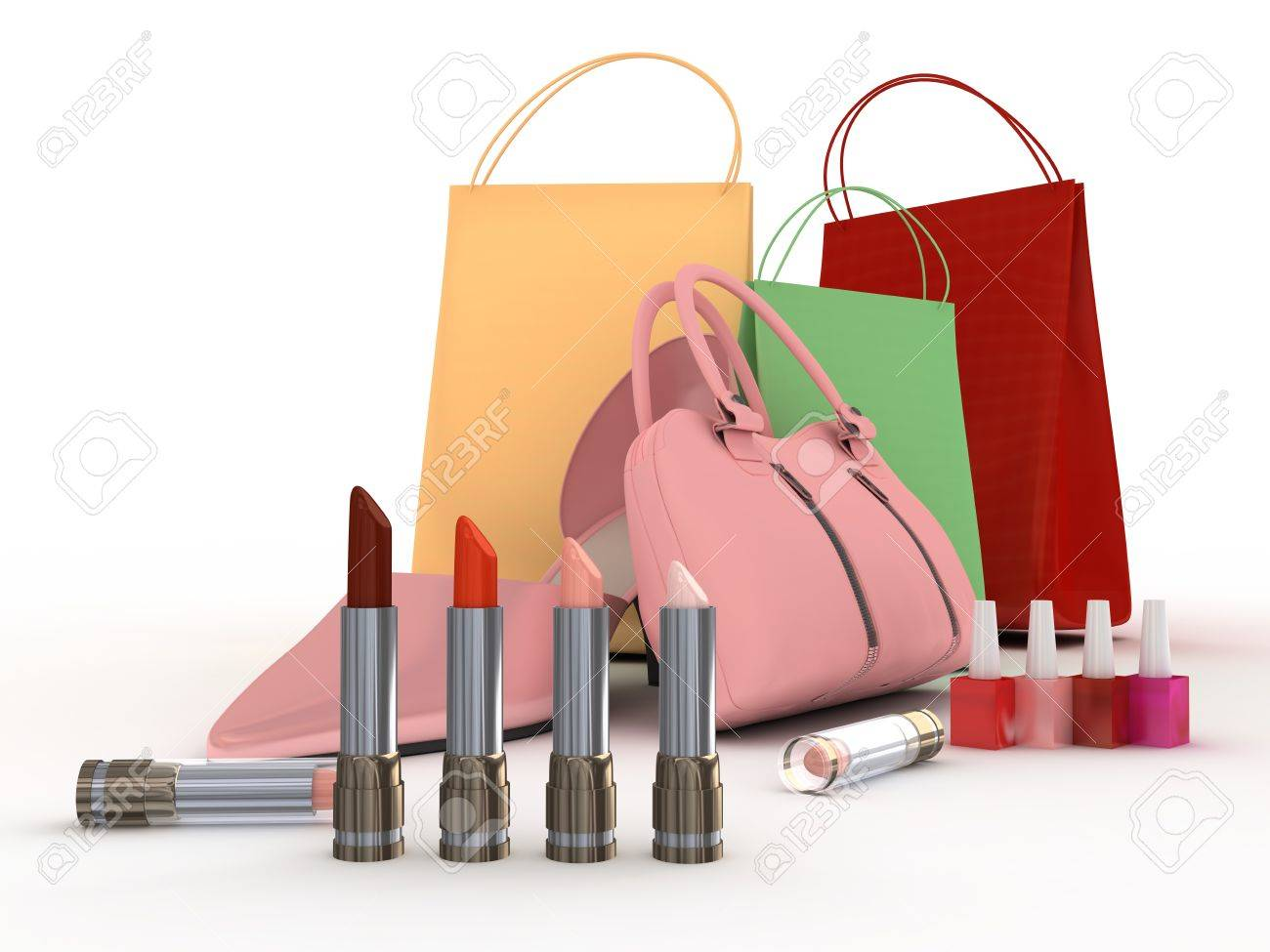 Pink shoes and handbag with colour lipstick and varnish Stock Photo - 4226457