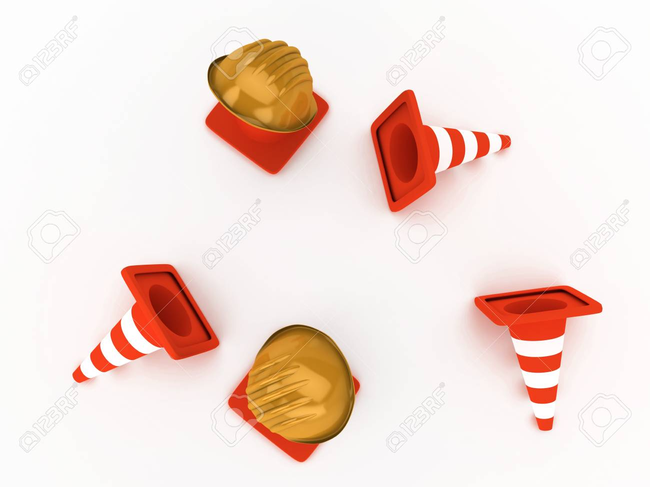 Two orange hardhat and fallen striped cones Stock Photo - 4226453