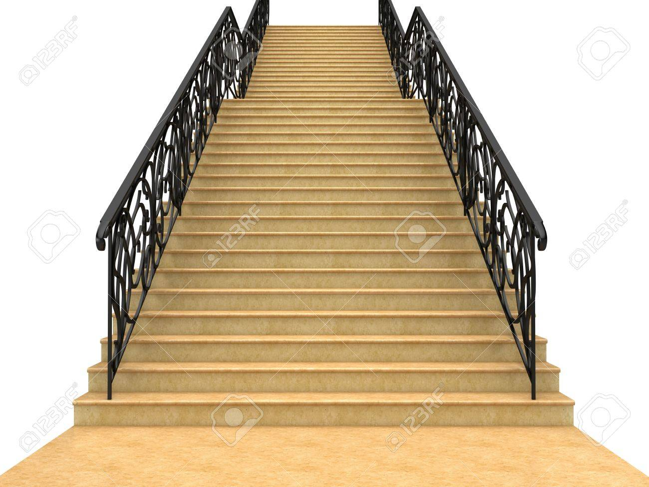 Stairs with railings leading up. Isolated on white Stock Photo - 4598738