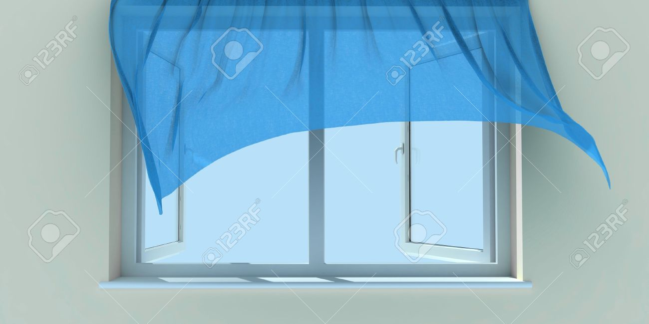 Window Curtain Wind - Window and a blue curtain raised by wind stock photo 4598782