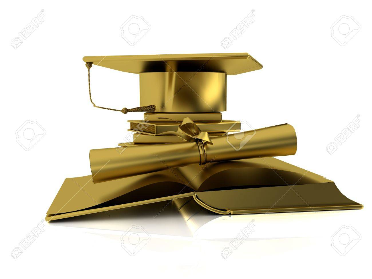golden bachelor cap diploma and open books on mirror plane stock photo 5825960
