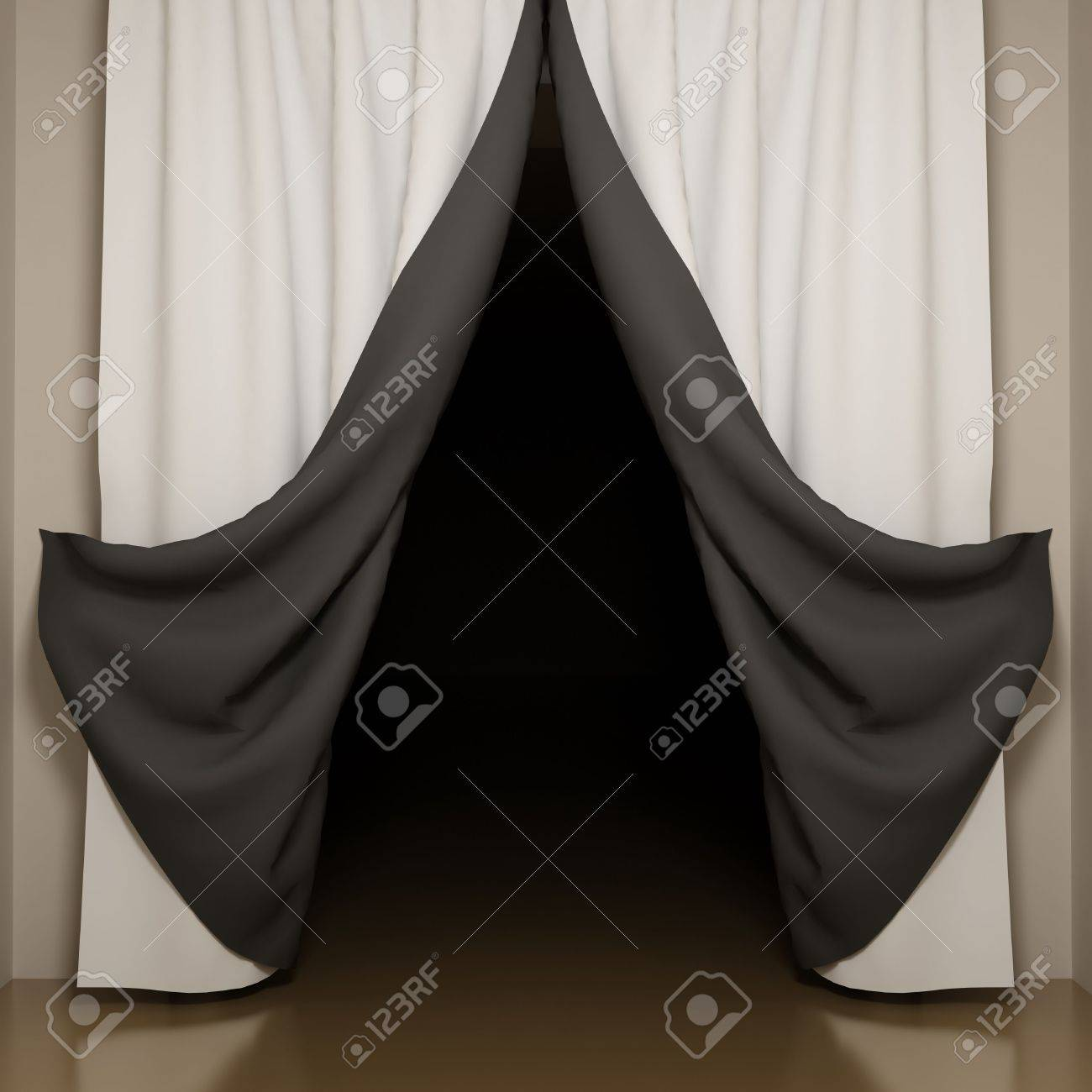 Open black curtain - Open Black Curtain Black And White Curtains With Open Angle View To Dark Room Stock