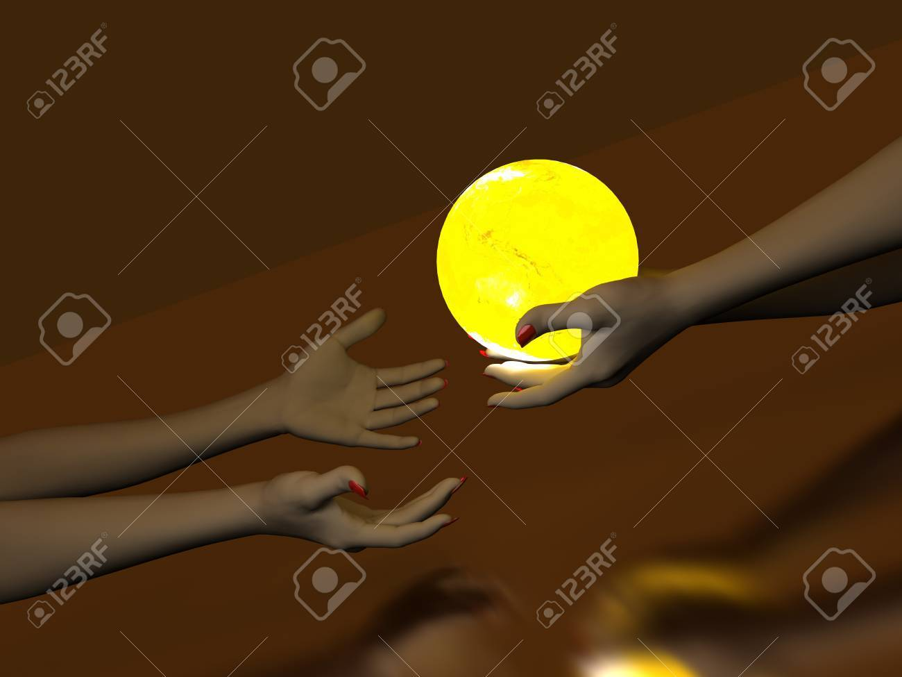 Two hands that transmit yellow Glowing Globe. On dark background Stock Photo - 6975331