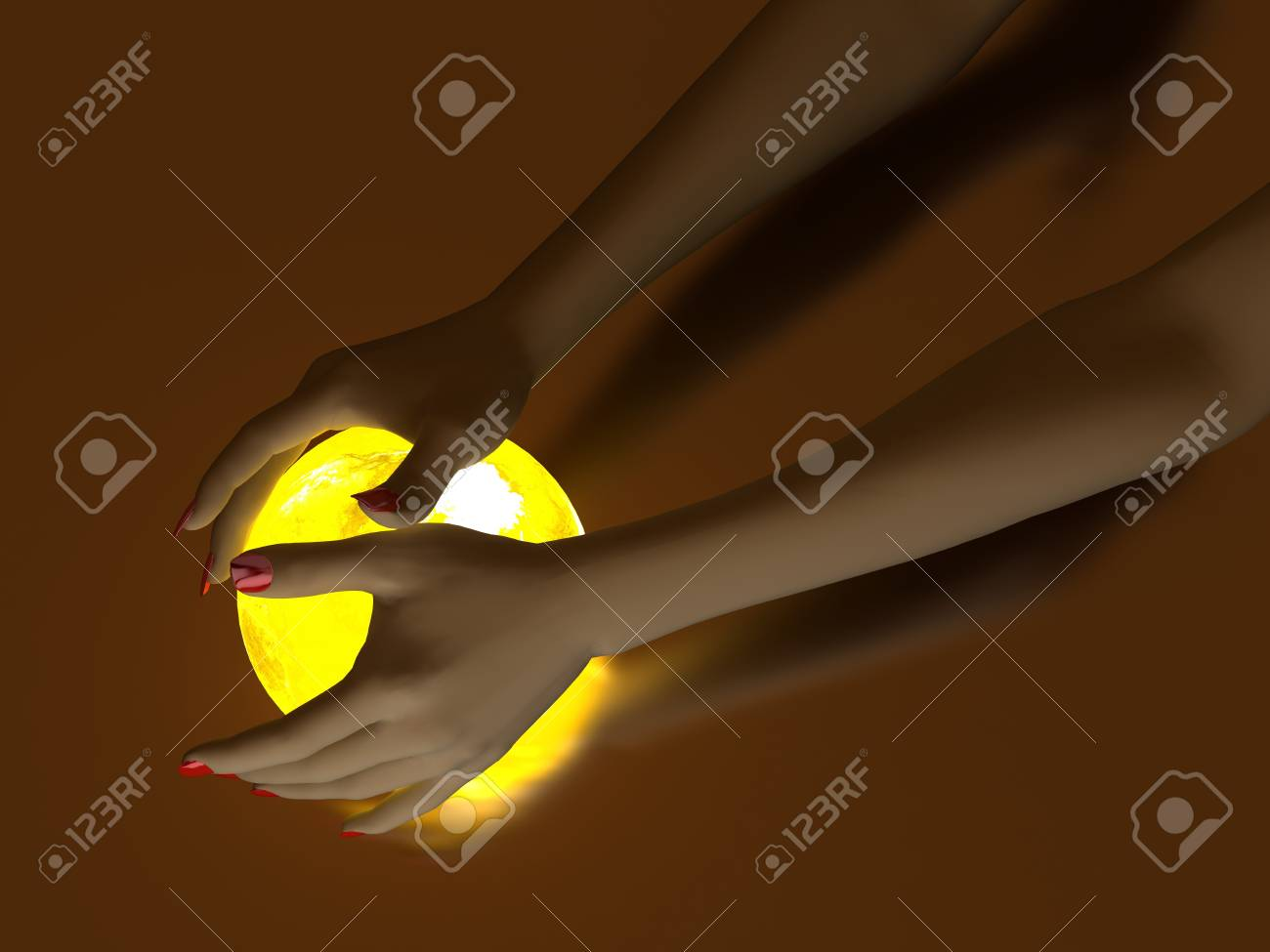 The hand rests on a bright ball, designed with a globe Stock Photo - 7434091