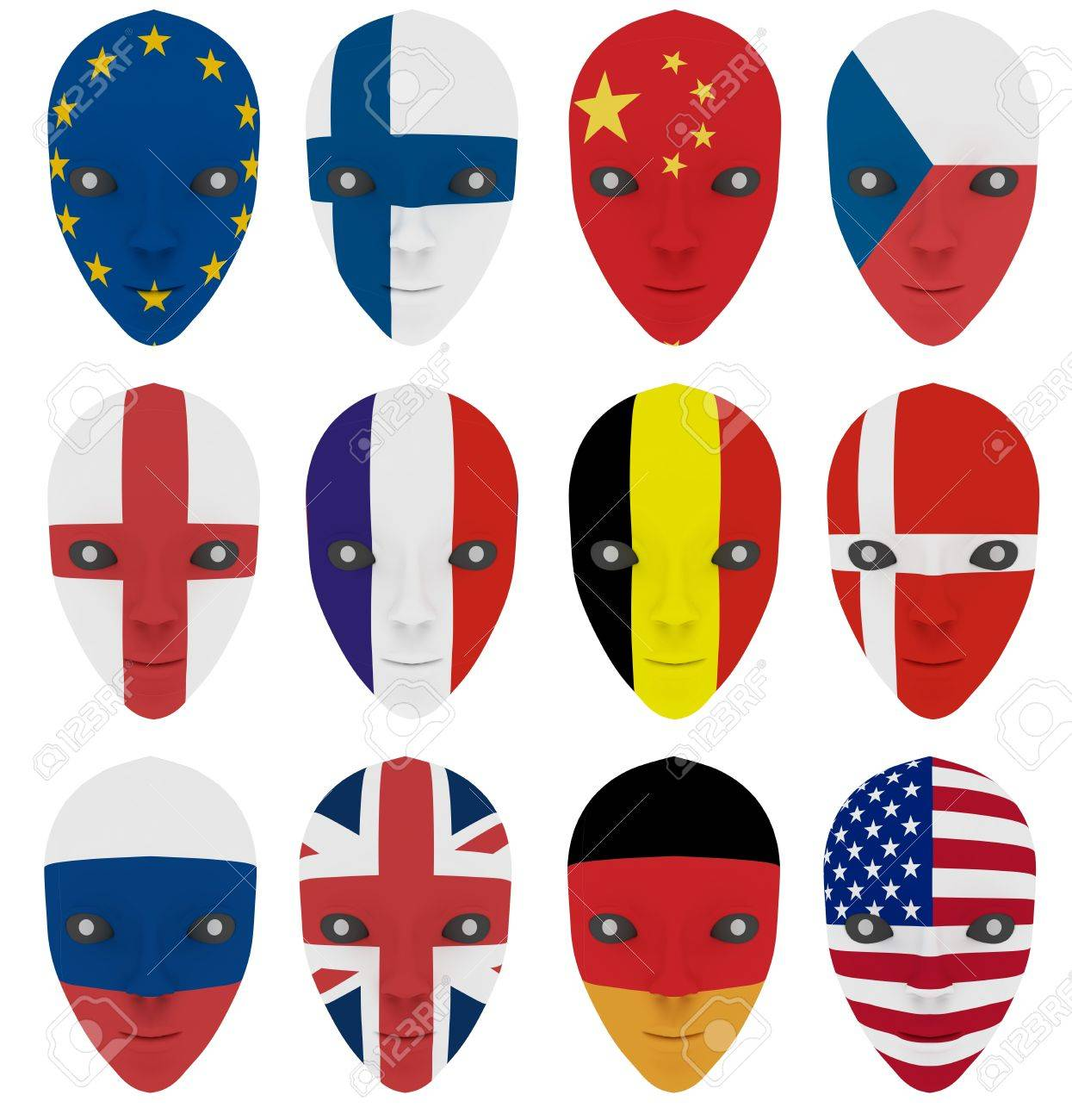 Mask painted with a flag. Isolated on white Stock Photo - 7696385