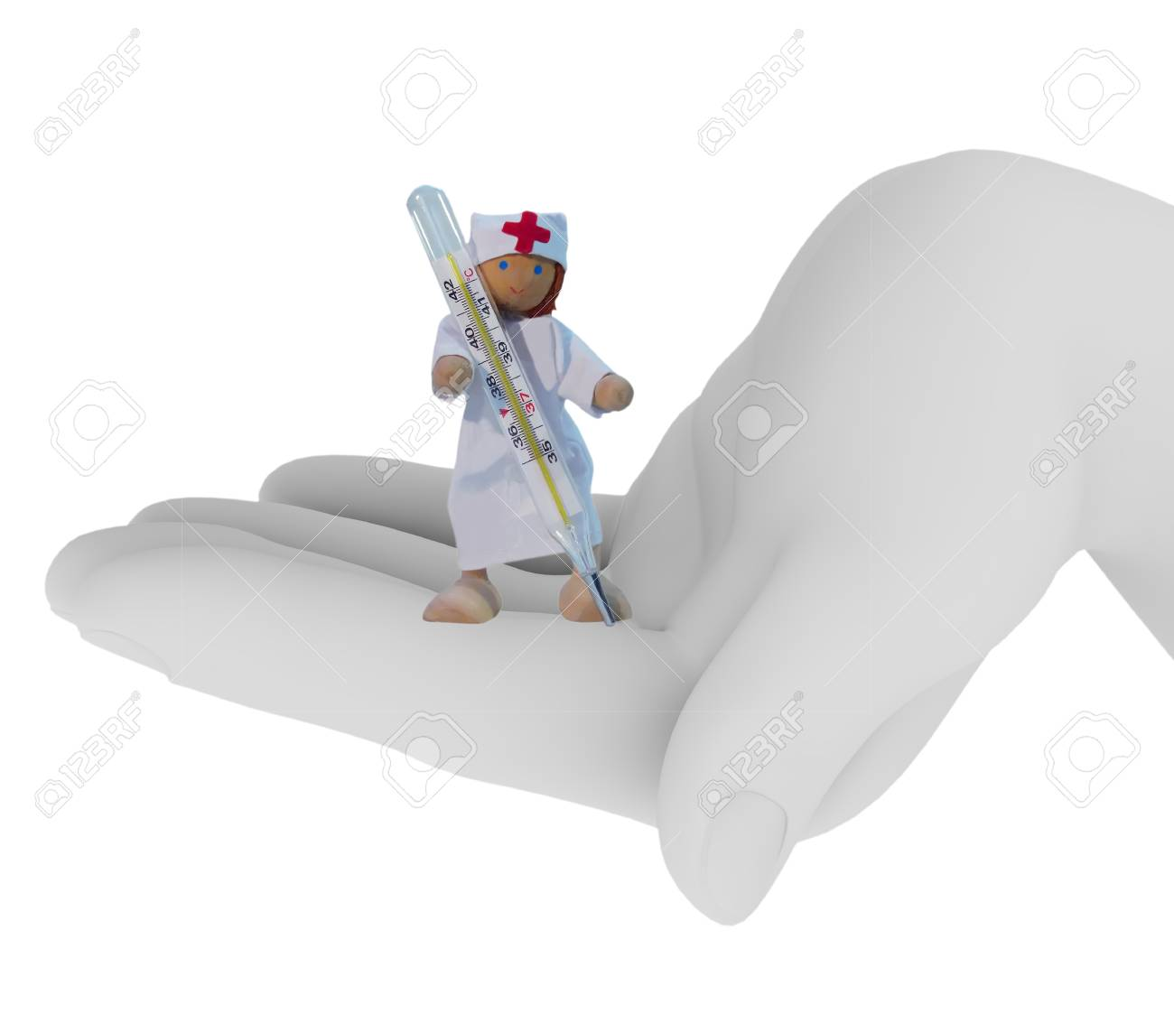 The Toy doctor with the thermometer in the palm. isolated on white Stock Photo - 9622705