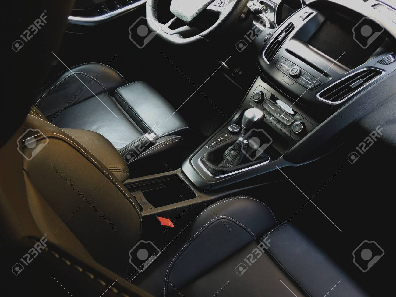 Car Leather Upholstery >> Upper View On The Premium Car Interior With Leather Upholstery