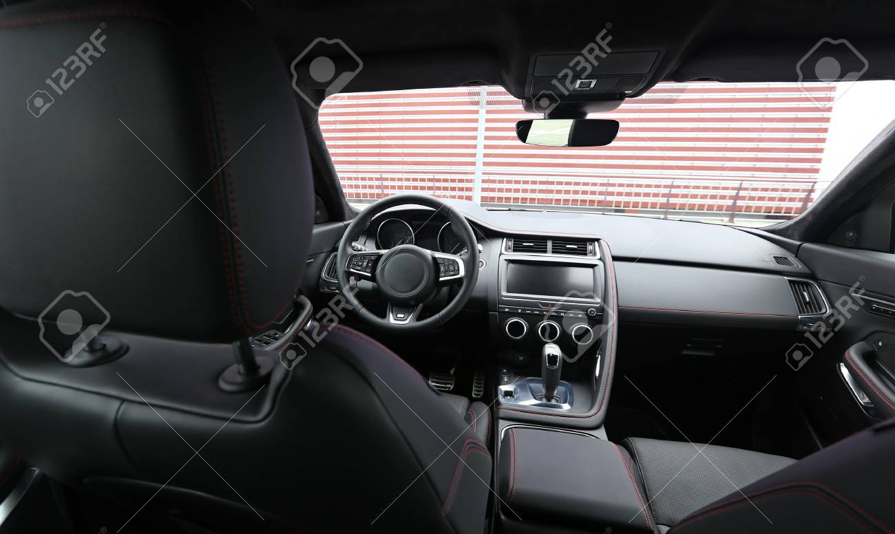 Upper view on the premium car interior with alcantara and leather